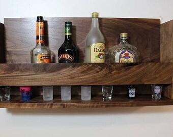 Liquor and shot glass shelf, Bar Shelf, Wine Shelf, , man cave