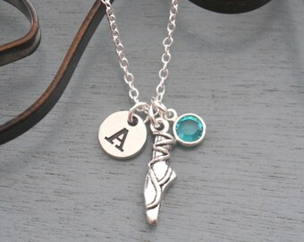 Ballet Necklace, Personalized Ballet Necklace, Ballet Slipper Necklace, Ballet Initial Necklace, Ballet Gifts, Silver Ballerina Necklace