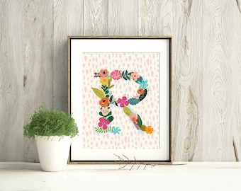 Personalized Floral Initial