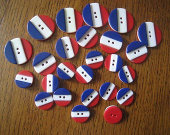 Vintage buttons BLUE WHITE RED