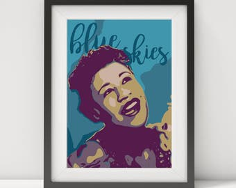 ella fitzgerald, ella fitzgerald poster, ella fitzgerald print, music poster, jazz poster, jazz singer, quote poster, prints