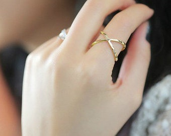 SIF Cross 'X' Shape Hollow-Cut Simplism Style Ring