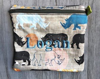 Reusable Sandwich Bag, Rhino, Endangered Rhino, Rhinoceros, ORGANIC COTTON, Travel Bag, Zippered bag, Snack Bag, Boy's Lunch, Large wet bag