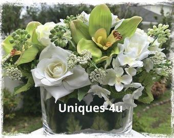 Floral Arrangement - Oval Glass vase