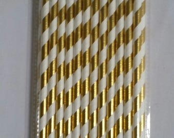 Metallic Gold Striped Paper Drinking Straw - perfect drink accessory!