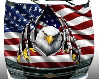American flag eagle rip car truck hood wrap vinyl graphic decal