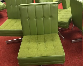 Jack Cartwright Vintage Modern Green swivel chairs with tufed back & Chrome base