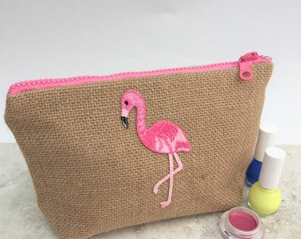 Flamingo Makeup Bag/Small Cosmetics Bag/Makeup Bag/Holiday Travel Pouch/Makeup Bag for Her/makeup organiser/tropical hessian  make up bag