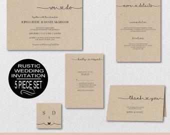 Rustic Wedding Invitation Template, Wedding Invitation, Wedding Invite, Printable Wedding Template, DIY PDF Instant Download | VRD141AWY