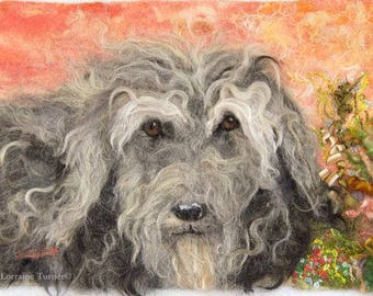 Felted Textile Painting Custom Pet Portraits