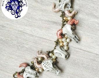 Animal skull, taxidermy, cluster charm bracelet, pearls, charm bracelet, beads special offer