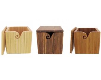 Bamboo Wood Yarn Box Style Yarn Bowl