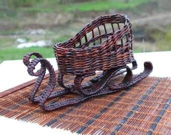 Decorative sleigh  Handwoven basket Farmhouse basket Basket purse Plant basket Storage basket Wicker basket