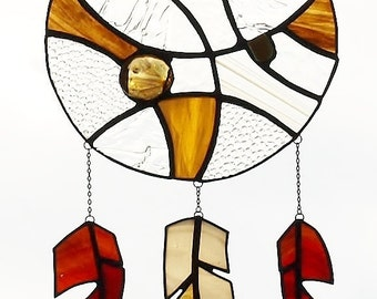 Stained Glass Suncatcher Amber Insect Dreamcatcher