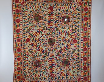 Vintage Indian wall hanging Home decor yoga Hand embroidered tapestry