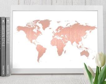 World map print   Etsy