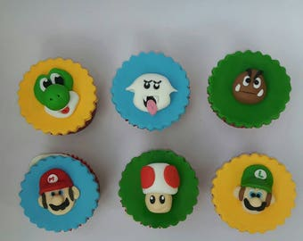 Super Mario cupcake toppers