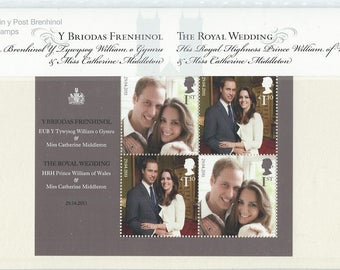 Royal Wedding of Prince William and Catherine Middleton mini sheet in Royal Mail presentation pack. Mint condition, complete as issued.