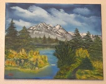 Oil painting,landscape, lets fish