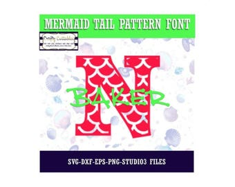 Mermaid Tail Pattern Font | Cut Files-svg, eps, dxf, png, studio3 file formats.