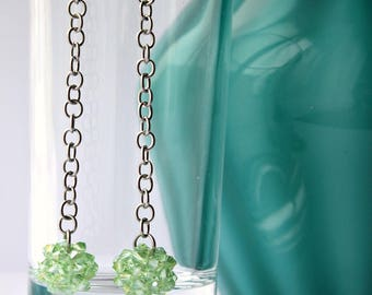 beaded ball - crystal beaded ball - pendant earrings - green - beadwoven jewelry - SoniaMalletCreations handmade