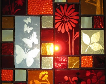 Framed Stained Glass Panel with Etched Flowers and Butterflies, Reds and Yellows, Gift, Window Decoration