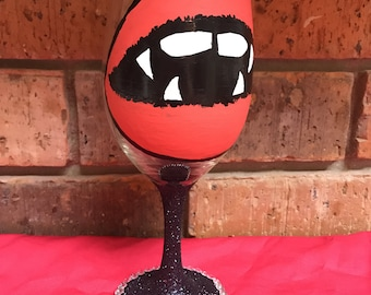 Vampire hand painted wine glass