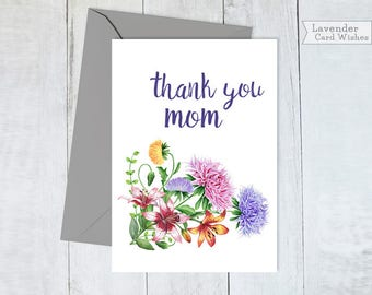 Mothers day gifts Printable cards Mothers day card floral Mom gift from son Birthday card for mom Thank you mom Cards for mom Gift for mom