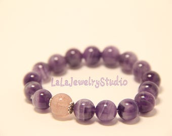 purple with strawberry pink beaded bracelets / gift for her / elastic bracelets / 10mm beaded