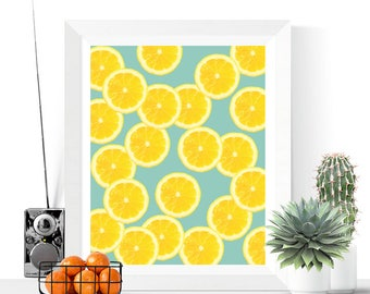 Lemon Slices Art Printable | Yellow and Blue | Fruit Art | Kitchen Art | Lemon Art | Modern Art | Tropical Prints | Food