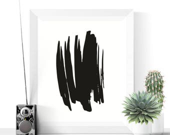 Black Abstract Art Printable | Abstract Art | Printable Art | Modern Prints | Minimalist Art | Black and White