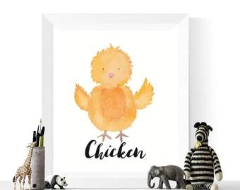 Baby Chicken Printable | Chicken Watercolor Printable | Chickens | Watercolour |  Baby Animal Art | | Nursery Printables