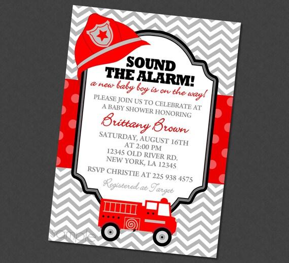 Sound The Alarm Firetruck Baby Shower Invitation Firefighter Baby