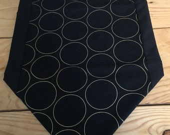 Table runner, black with gold circles table runner, black, gold, circles