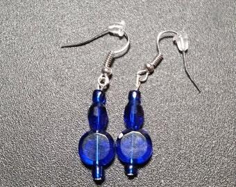 Brilliant Blue Crystal Disk Drop Earrings