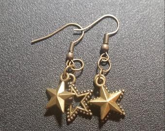 Gilded Gold Double Star Dangle Earrings