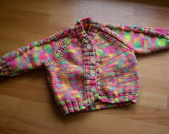 Hand knit Cable sleeve cardigan for baby girl