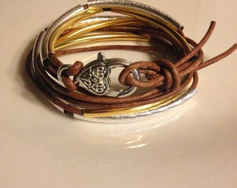 2 Strand Brown Leather Wrap Gold and Silver Bracelet or Necklace (Lizzy James Inspired)