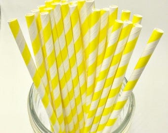 Bright Yellow Paper Straw Pack