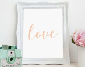 Pink Love Print, Nursery Print, Love Art, Inspirational Art, Wall Art, Printable Art, Printable Wall Décor, Instant Download, Digital Print
