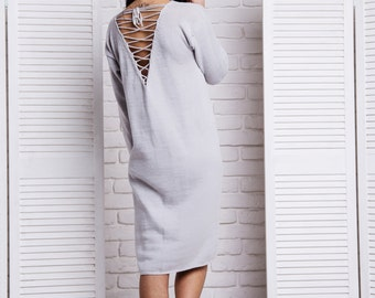 Grey Lace Up Back Long Sleeve Casual Dress loose fit dress (size s-m ready to ship)