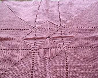 vintage inspired baby girl crochet blanket. rose pink newborn baby shower traditional gift.
