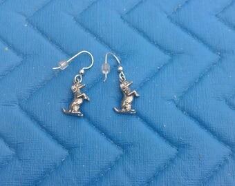 Sterling Silver Dachshund Dangle Earrings