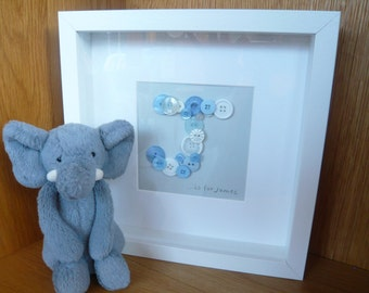 Personalised button art, initial art, new baby, birthday gift, christening gift, new parents, boys gift