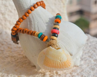 Wooden Bead Necklace with Sea Shell