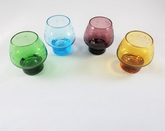 Set of Four Etched Cordial Glasses