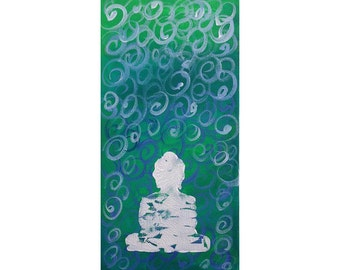 Green World with White Stamped Buddha Acrylic Painting