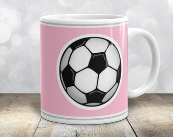 Athletic Soccer Ball Mug - Sports Pink - 11oz or 15oz