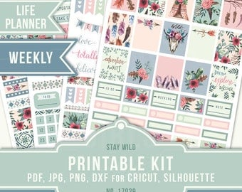 June Weekly Stickers, Printable Planner Stickers, Erin Condren Life Planner, June Sticker Kit, June Weekly, Boho Sticker Kit, 17039