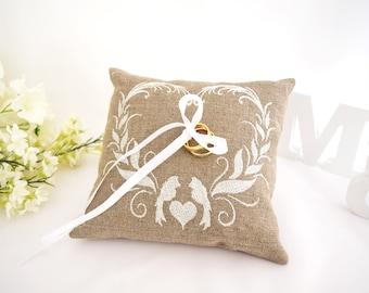 Wedding Pillow, Wedding Ring Pillow, Ring Bearer Pillow, Wedding Ring Pillow, Ring Bearer, Lace Ring Pillow, Rustic Wedding, Ring Cushion